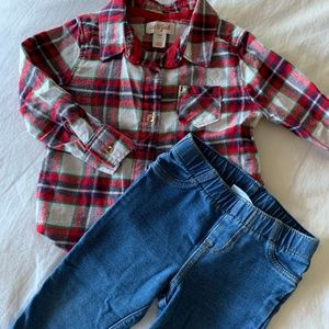 Cat and Jack flannel shirt and Jeggings